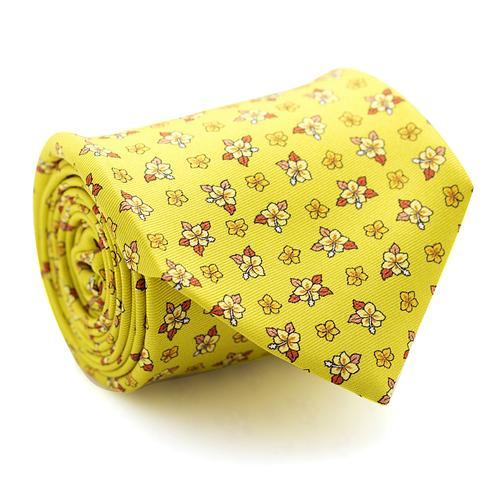 Necktie | Mini Flowers Pattern on Bright Yellow