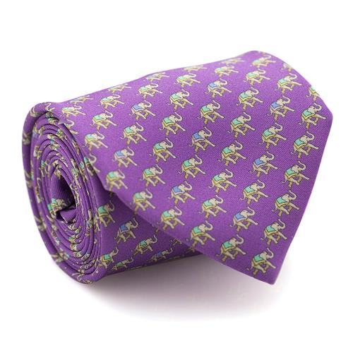 Necktie | Violet Color with Elephant Pattern