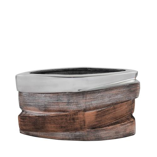 Oblong Tri-Tone Aluminum Vase