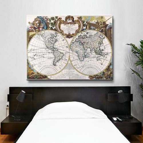 Mappe Monde-1744 | Canvas