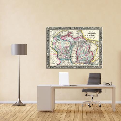 County map of Michigan and Wisconsin | Canvas
