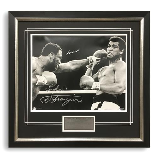 Muhammad Ali v Joe Frazier Dual Signed Close Up Photo
