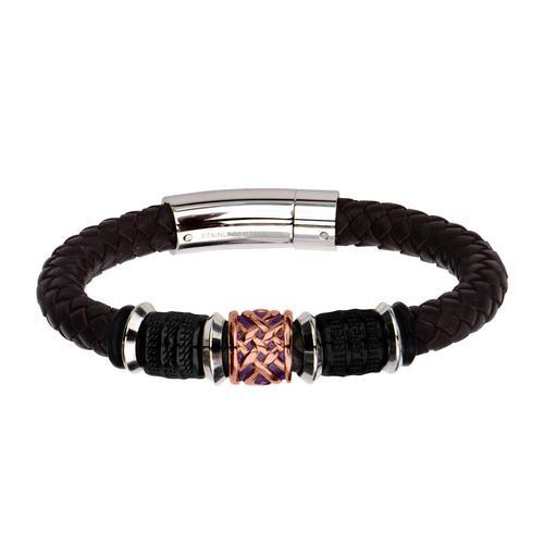 Brown Braided Genuine Leather Bracelet