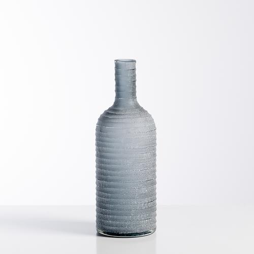 Carved Frosted Glass Bottle Vase | Smoke