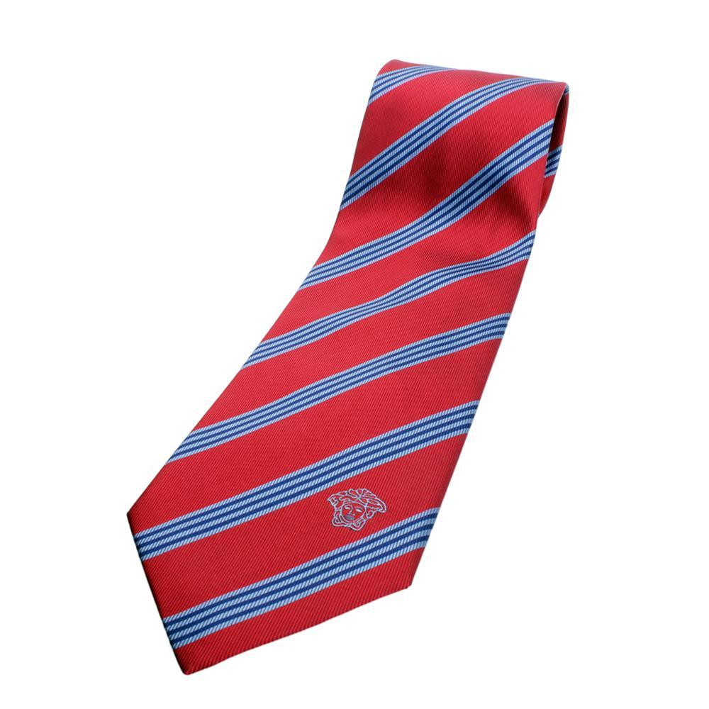 versace silk tie maroonbluelight blue