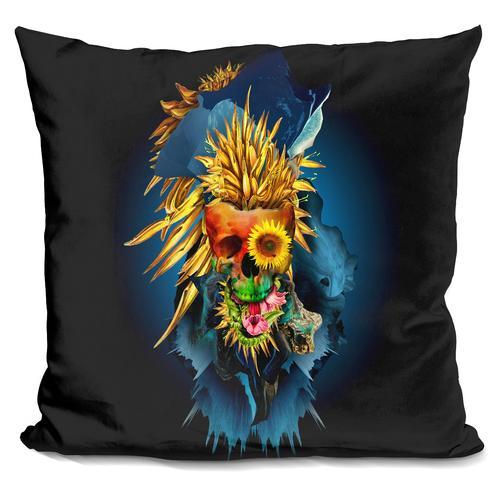 Riza Peker 'Floral Skull Vivid III' Throw Pillow