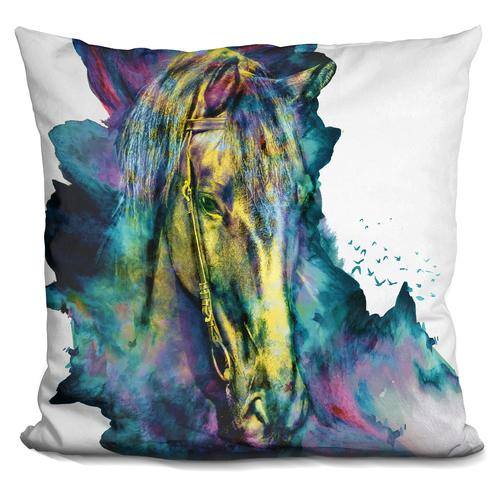 Riza Peker 'Horse Chained Beauty' Throw Pillow