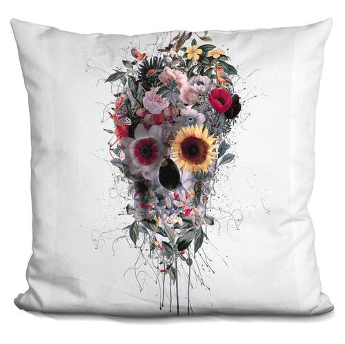 Riza Peker 'Skull Floral' Throw Pillow