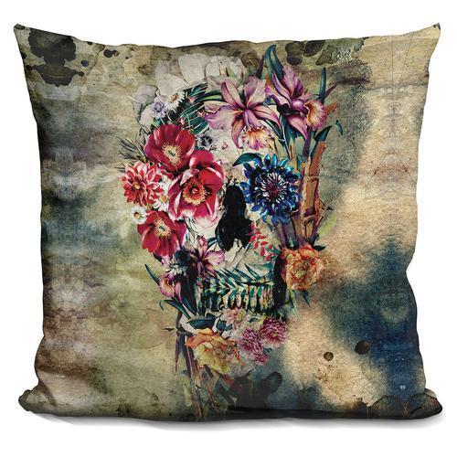 Riza Peker 'Skull on old grunge' Throw Pillow
