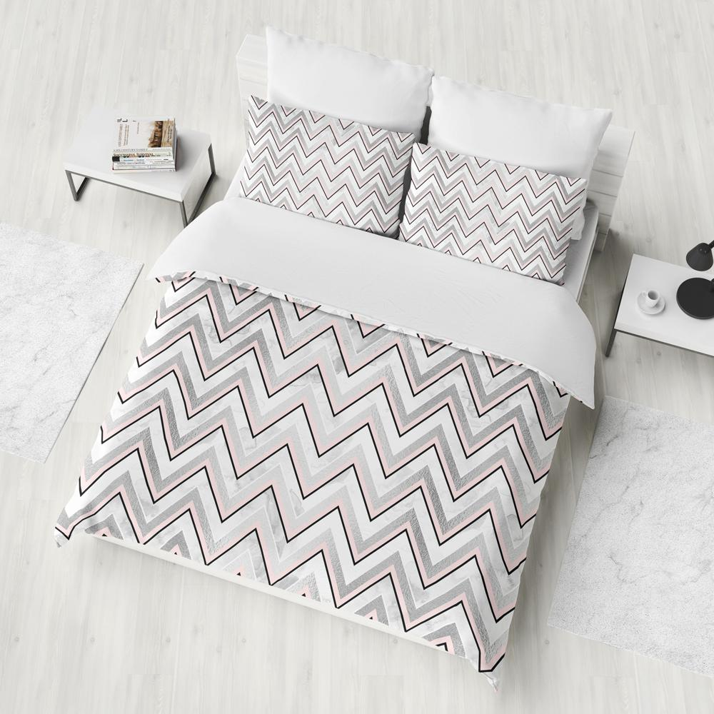 Silver And Pink Abstract Chevron Duvet Cover Set