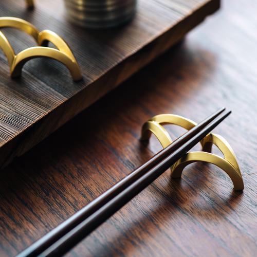 CURVE   Gold Chopstick Rack (2 in 1 set + leather case)