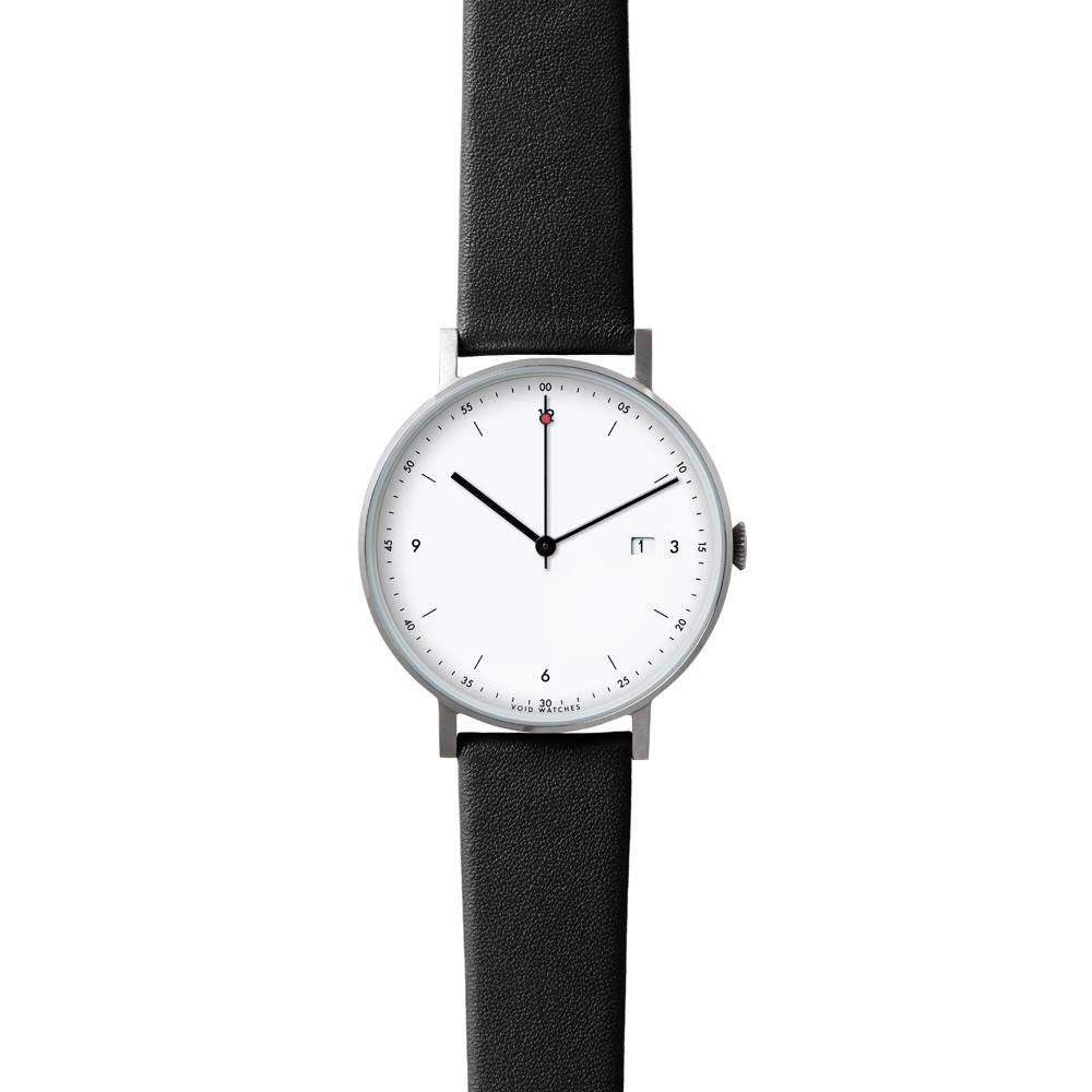 Silver Round Date   Black leather strap   White dial