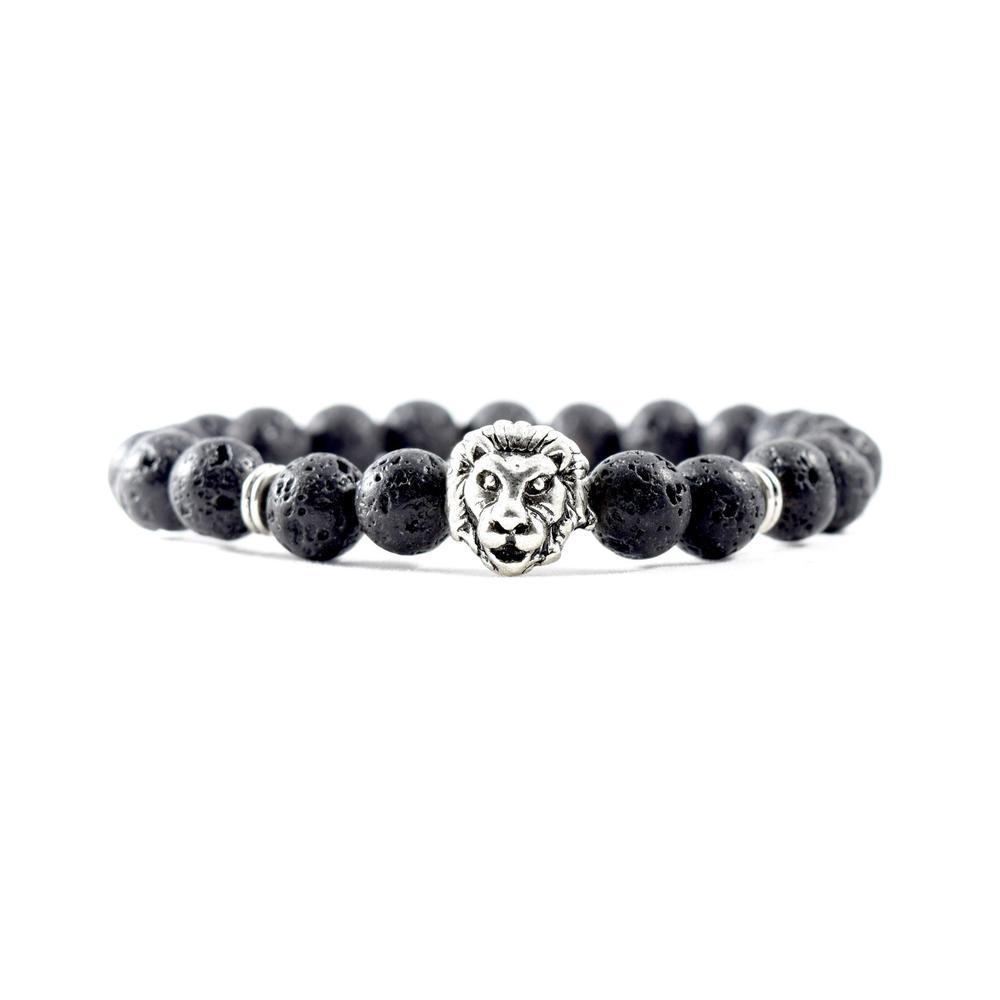 Silver Lion | Lava Stone Bracelet | Executive Society