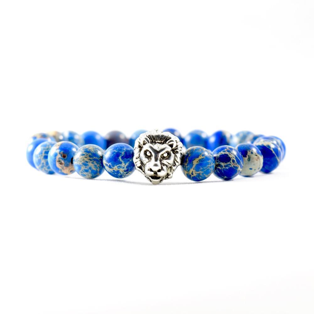Deep Sea Jasper   Silver Lion Bracelet   Executive Society