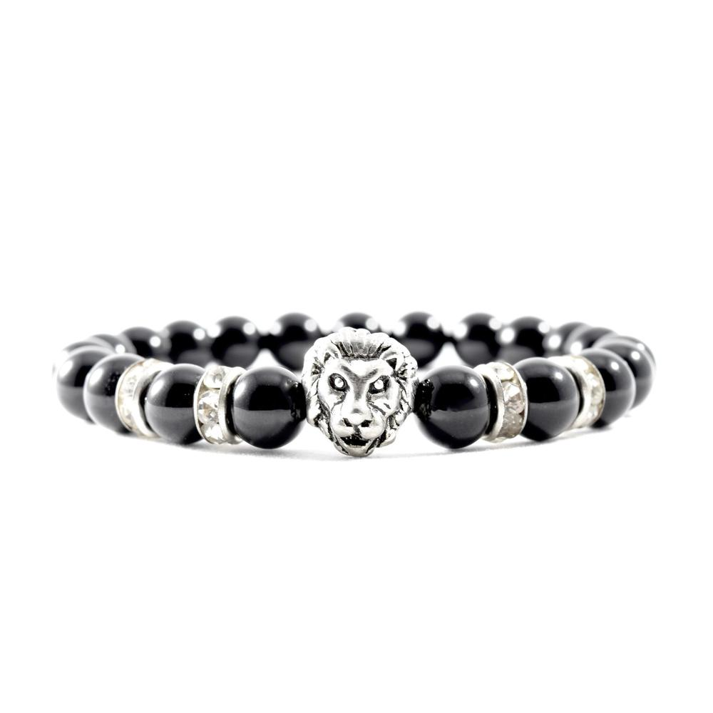 CZ | Onyx | Silver Lion Bracelet | Executive Society